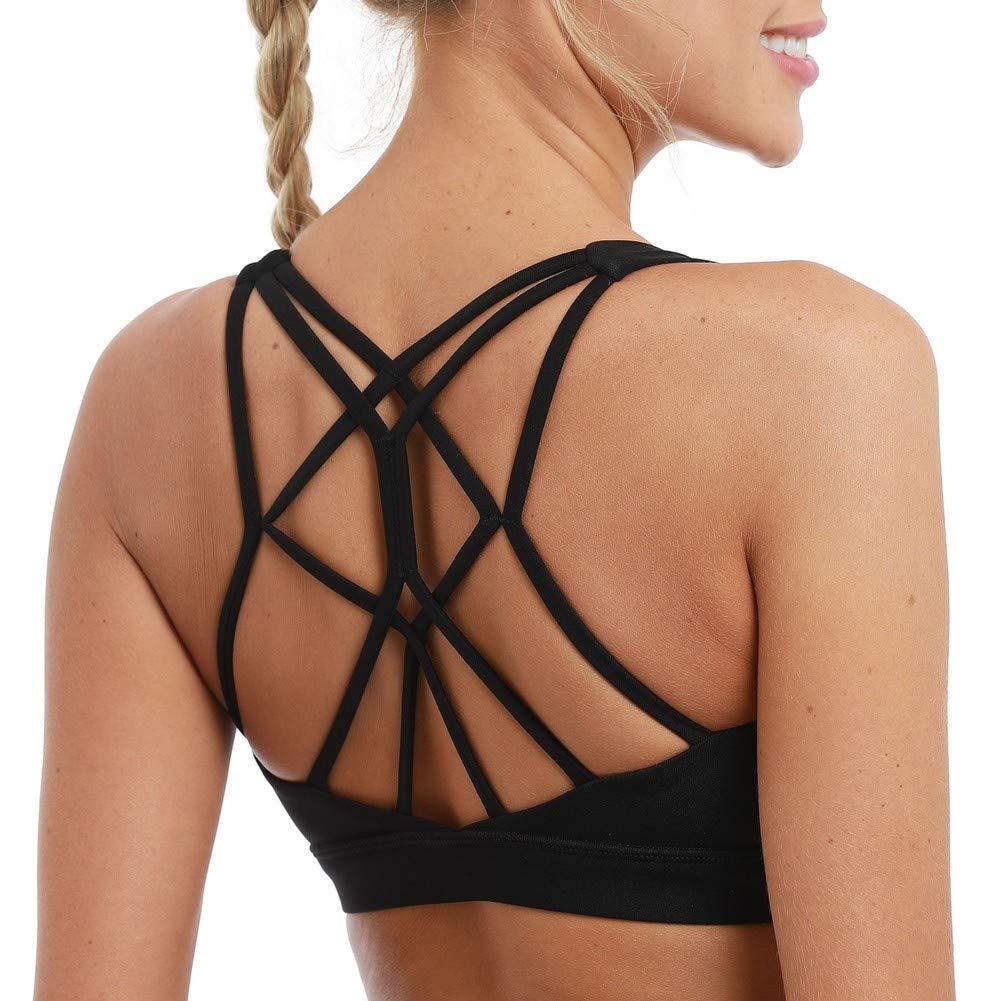 coastal rose Women's Yoga Bra Top Strappy Back Push Up Crop Sports Bra Activewear US L Black by coastal rose
