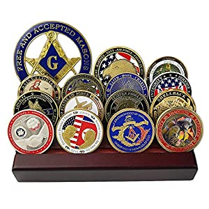FunYan Challenge Coin Display Military Coin Holder 4 Rows Wooden Stand by FunYan