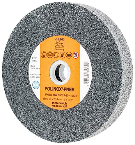 PFERD 48422 POLINOX PNER Non-Woven Abrasive Unitized Wheel, Silicon Carbide, Medium-Soft, 6'' Diameter x 1'' Width, 5100 Maximum RPM