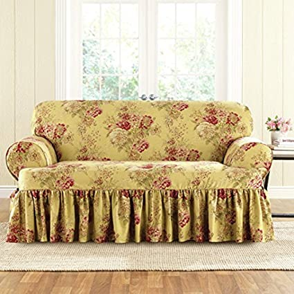 Sure Fit Ballad Bouquet Waverly One Piece Loveseat Slipcover