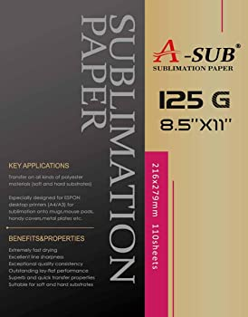 A-SUB Sublimation Paper 8.5x11 Inches for Any Inkjet Printer with Sublimation Ink
