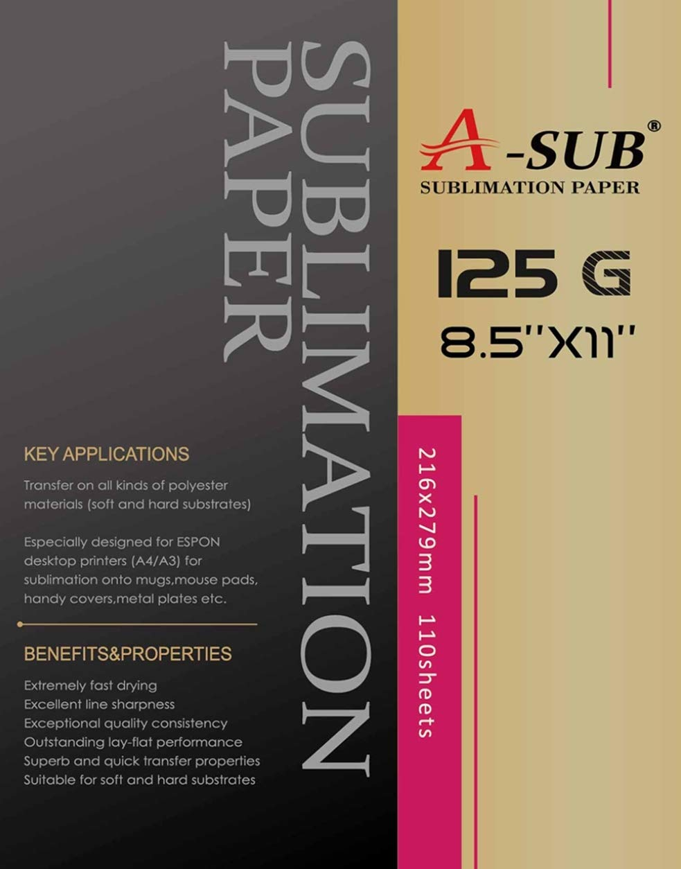 A-SUB Sublimation Paper 8.5'' x 11'' for Any Inkjet Printer with Sublimation Ink,110 Sheets Letter Size