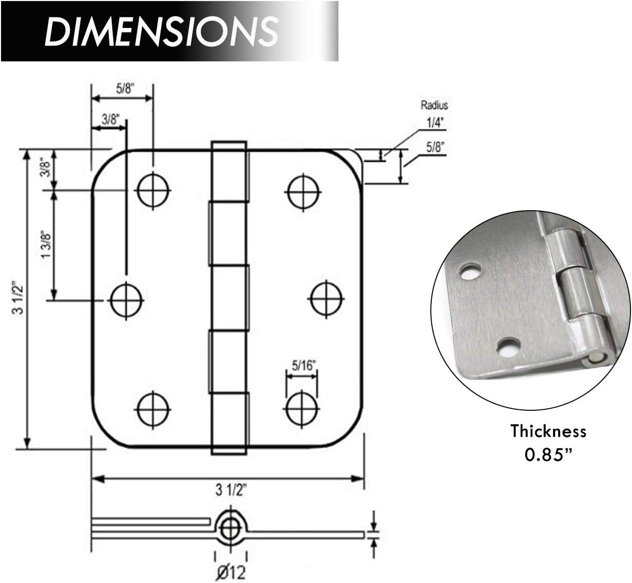 15 Pack 3.5 x 3.5 Plain Bearing 1//4 Radius Corners Steel Mortise Door Hinge