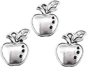50pcs Antique Silver Plated Apple Charms Pendant DIY Bracelets Necklace Jewelry Making Craft Wholesale 20mmx13mm(A312)