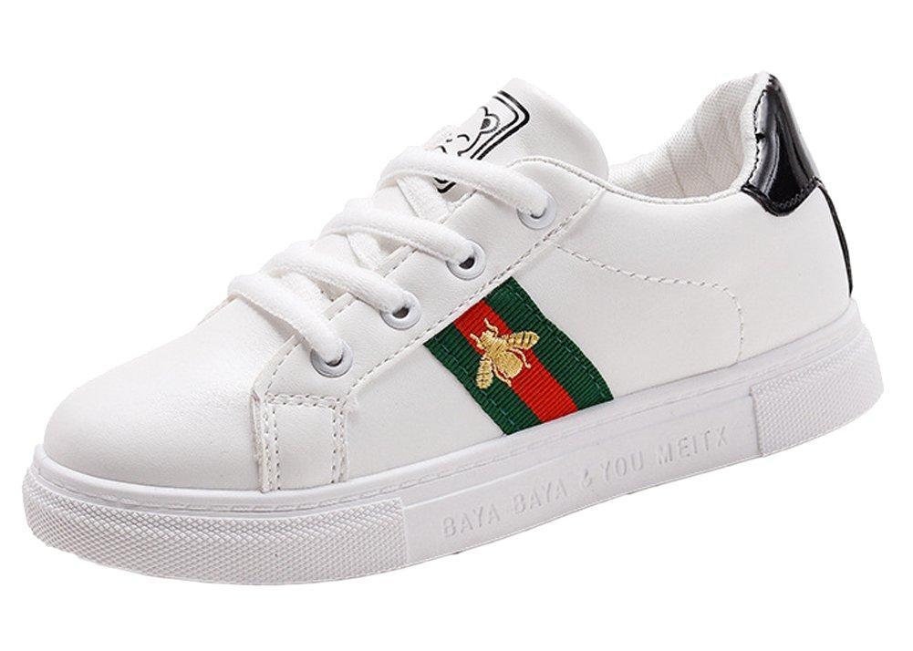VECJUNIA Boys Girls Casual Slip on Elastic Board Loafers Outdoor Leather Sneakers Black 13.5 M US Little Kid