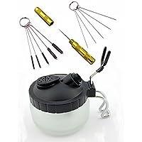 ABEST 4 SET Airbrush Spray Gun Wash Cleaning Tools Needle Nozzle Brush Glass Cleaning Pot Holder