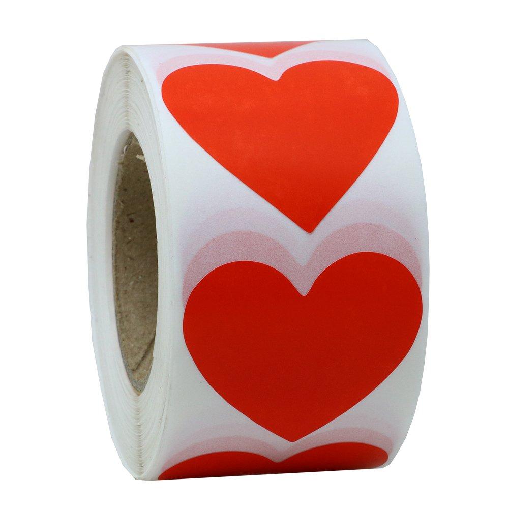 Hybsk Red color Coding DOT 3, 8cm etichette carta naturale adesivi etichetta a forma di cuore 500etichette per rotolo 1 Roll gold