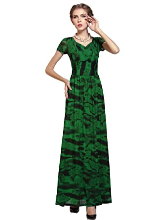 Medeshe Women S Green Bohemian Style Beach Wedding Bridesmaid Maxi