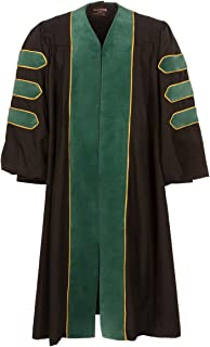 American Doctoral Gown (Black with forest green velvet + Gold Piping)
