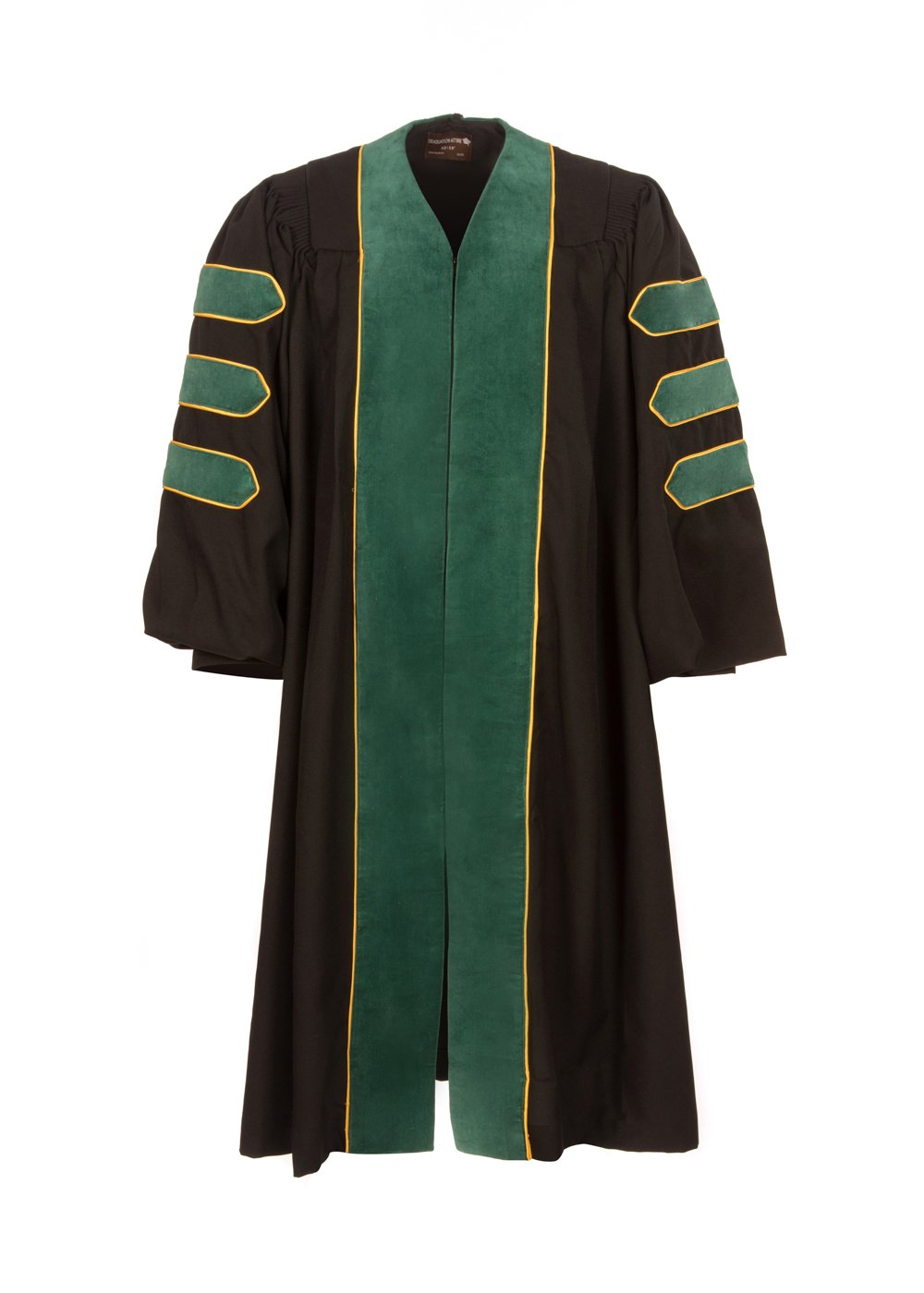 American Doctoral Gown (5'9'' - 5'11'', Black with Forrest Green velvet + gold piping)