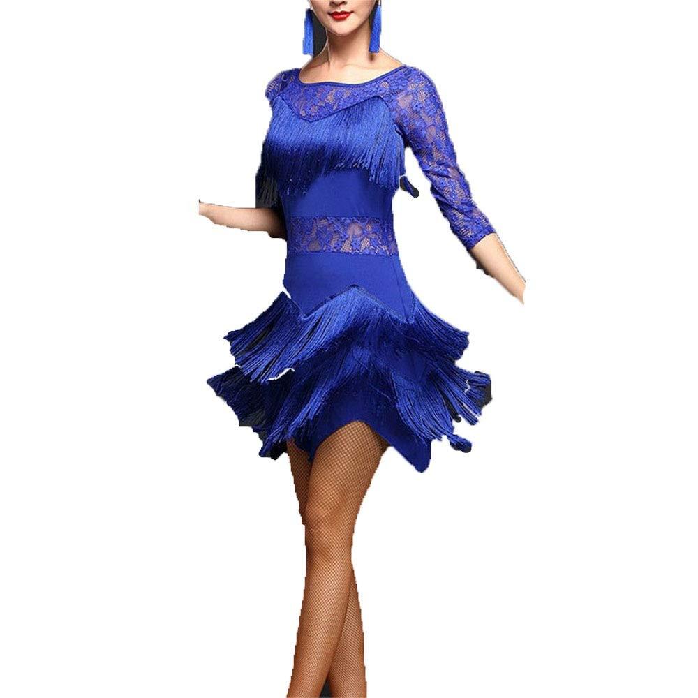 Royal bleu Robe de danse latine Robe de perforhommece Femmes Fringe Glands Flapper Robe De Danse Latine Costumes Moitié Manche Floral Dentelle Tango Ballroom Dancewear Compétition Perforhommece Danse Robe Costume de Medium