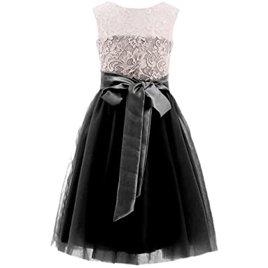 MicBridal® Girls Short Lace and Tulle Bowtie Back Prom Dress Birthday Party Dress(Black