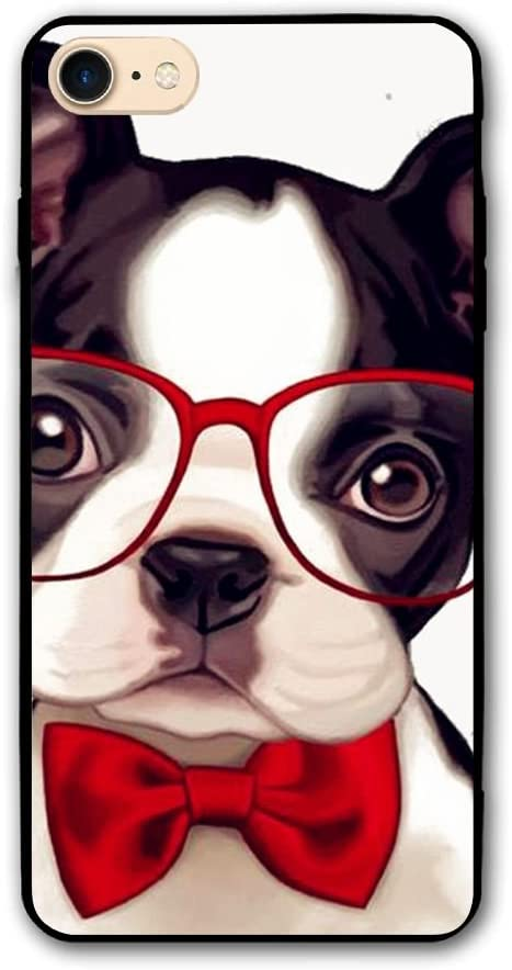Happy Index Baby Boston Terrier with Red Glasses iPhone 7 Case/iPhone 8 Case Soft TPU Shell Shock-Absorption Bumper Anti-Scratch Case Enhanced Grip Protective Defender Cover
