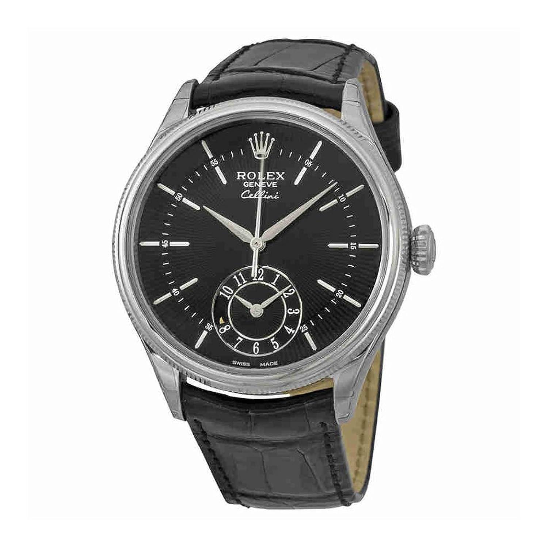 Rolex Cellini Dual Time Black Dial 18 ktホワイトゴールドメンズ時計50529bksbkl B01MTV05TA
