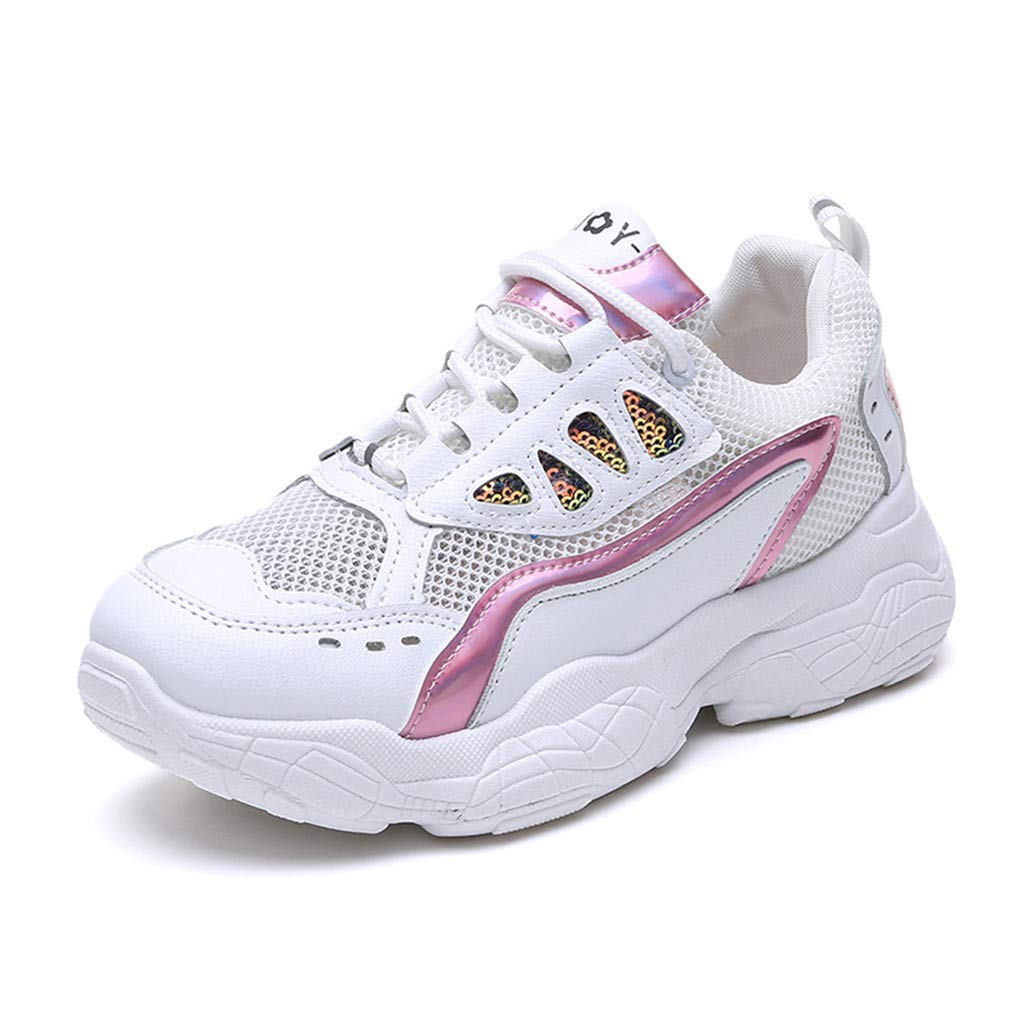 HENWERD Womens Non Slip Sneakers Student Lightweight Breathable Athletic Walking Shoes (Pink,6.5 US)