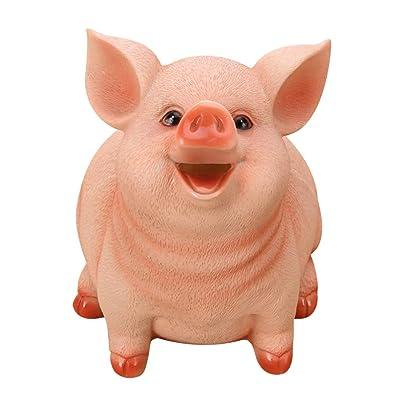 Gallity Lovely Cartoon Pig Resin Piggy Bank,Animal Coin Bank Money Bank Coin Box, Savings Piggy Bank,Shatterproof Piggy Bank for Kids, Birthday Gifts for Kids, Home Nursery Decoration (L): Beauty