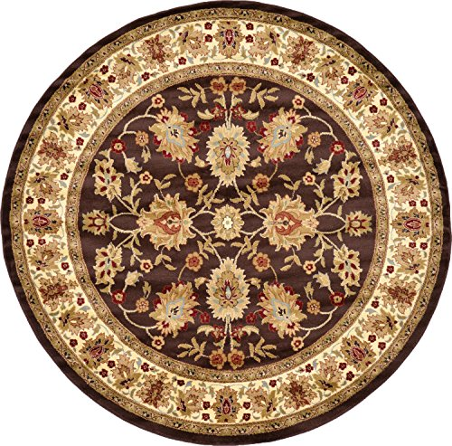 Rug Oriental Round Brown (Unique Loom Voyage Collection Traditional Oriental Classic Brown Round Rug (8' x 8'))