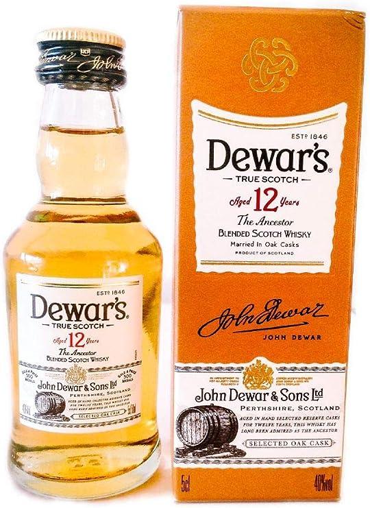 Botellita miniatura whisky Dewars White Label 12 Años: Amazon.es: Alimentación y bebidas