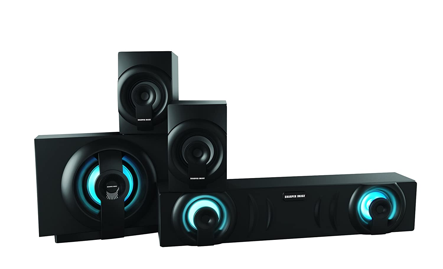 Sharper Image SBT3009BK Home Theater In a Box 3.1 Sound System With Subwoofer, Bluetooth Streaming From Any Device, Blue LED Light Sets The Mood Southern Telecom