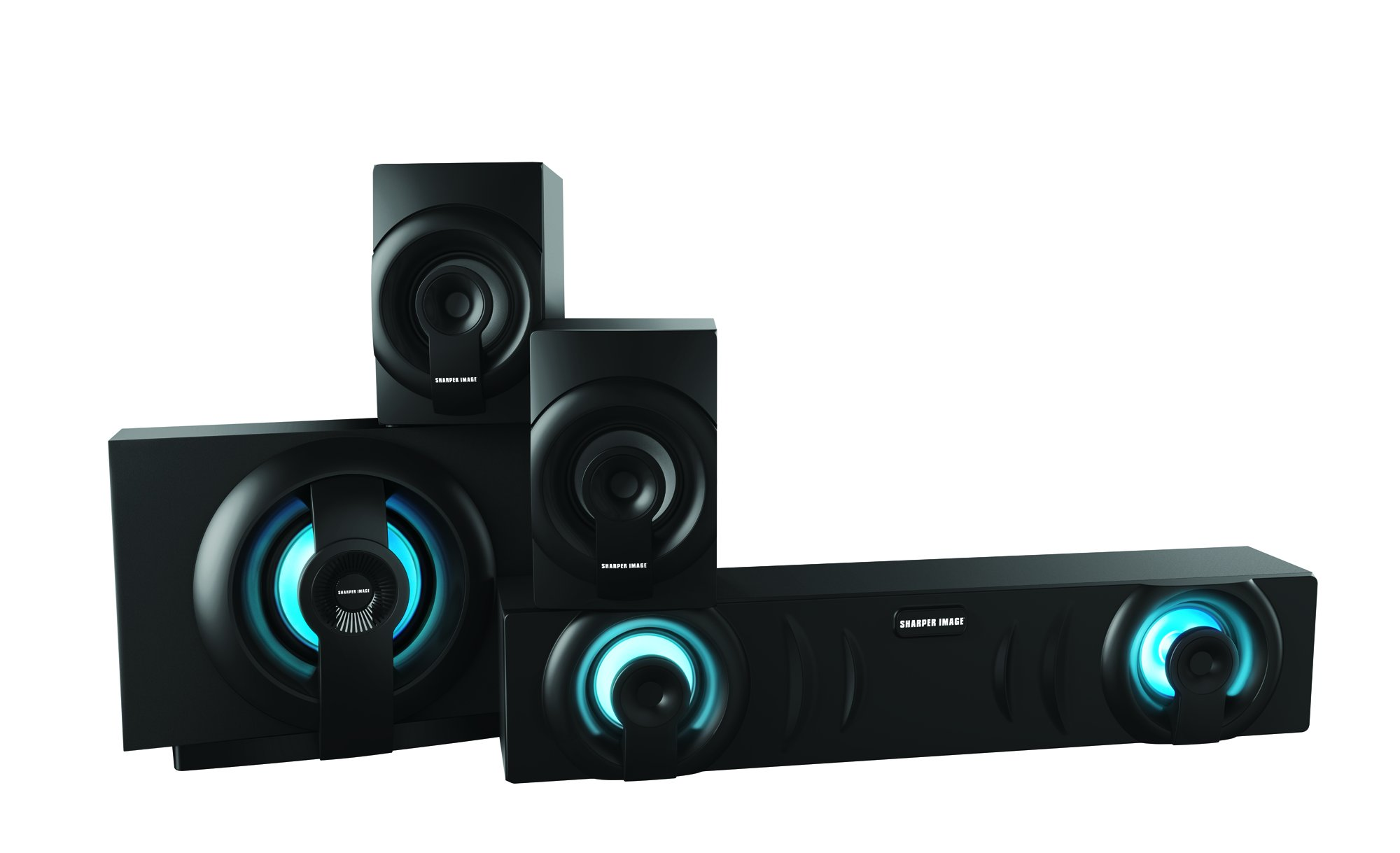 Sharper Image SBT3009BK Home Theater In a Box 3.1 Sound System With Subwoofer, Bluetooth Streaming From Any Device, Blue LED Light Sets The Mood by Sharper Image