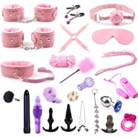 CQ Alternative Toys 24 Sets of Fluffy Leather Handcuffs Adult Sxx Toys Tied Bondage Suit Couple Flirting Supplies…