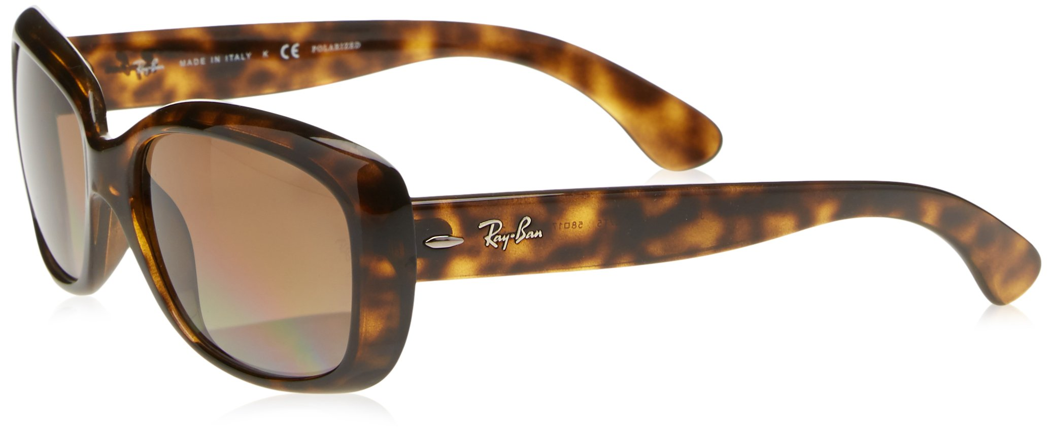 RAY-BAN Women's RB4101 Jackie Ohh Sunglasses, Light Havana/Polarized Brown Gradient, 58 mm by RAY-BAN