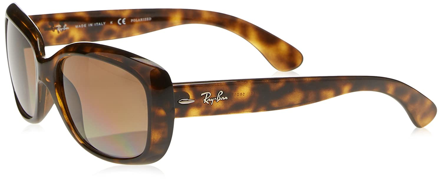29a283d1230 Amazon.com  Ray-Ban Women s Jackie Ohh Polarized Rectangular Sunglasses  LIGHT HAVANA 58 mm  Clothing