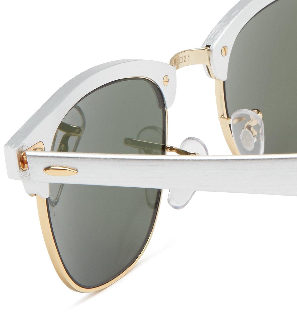 46399b49e5648 Amazon.com  Ray-Ban RB3507 137 40 CLUBMASTER ALUMINUM - BRUSHED SILVER  ARISTA Frame GREY MIRROR Lenses 51mm Non-Polarized  Ray-Ban  Clothing
