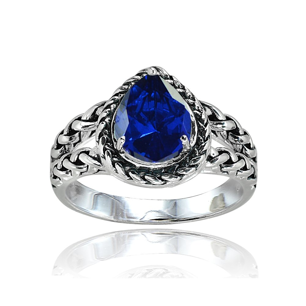 Sterling Silver Created Blue Sapphire Pear-Cut Oxidized Rope Split Shank Ring, Size 7
