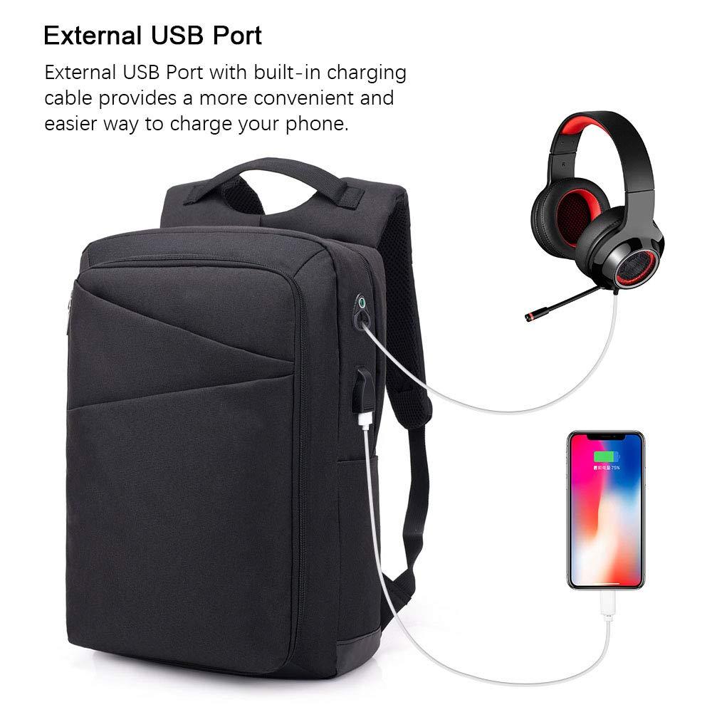 Puerto de Carga USB y Auriculares Incluye 1 Cable USB 20L Mochila de Viaje de Negocios - Negro Mochila de Viaje de Nylon Repelente al Agua flintronic Mochila para Computadora