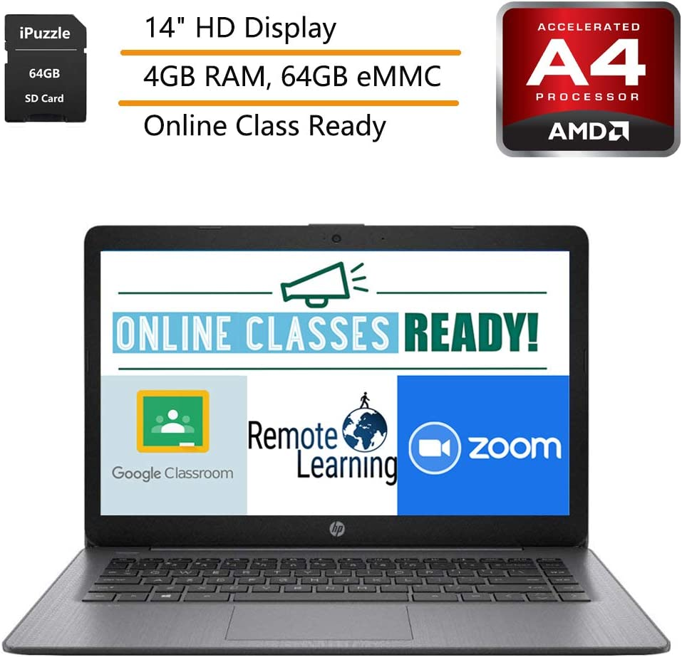 """HP Stream 14 14"""" Laptop Computer, AMD A4-9120e up to 2.2GHz, AMD Radeon R3, 4GB DDR4 RAM, 64GB eMMC, Black, Windows 10, iPuzzle Mousepad and 64GB SD Card, Webcam, Microphone, Online Class Ready"""