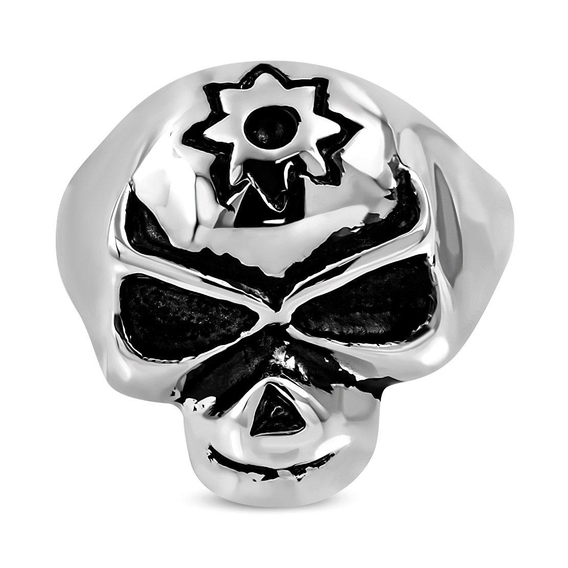 Stainless Steel 2 Color Star Skull Face Biker Ring