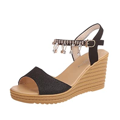 ba4734e32c3d Lolittas Womens Gladiator Wedge Diamante Sandals,Sparkly Glitter Studded High  Heel Platform Ankle Strappy Wide Fit Peep Toe Slingback Outdoor Pantshoes  Size ...