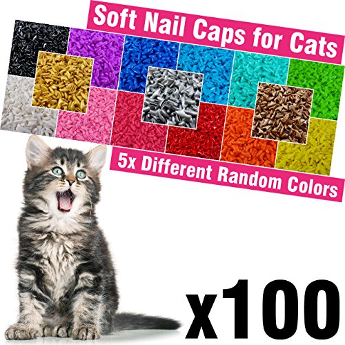 (100 pcs Soft Cat Nail Caps for Cats Claws 5X Different Random Colors + 5X Adhesive Glue + 5X Applicator, Kittens Cap Tips Pet Paws Claw Grooming Kitten Extra Small Kitty Soft Covers (XS))
