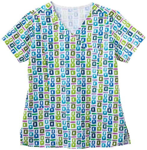 Bio Women's Mock Wrap Geometric Pop Art Blue Print Scrub Top Large Print (Scrub Shirttail)
