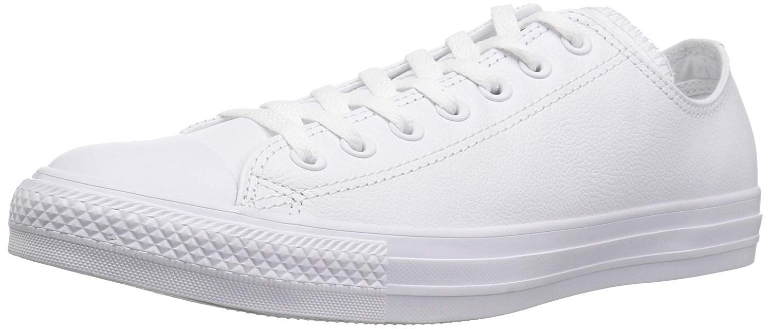 Converse Unisex Chuck Taylor All Star Ox Low Top Classic White Leather Sneakers - 12.5 B(M) US Women / 10.5 D(M) US Men