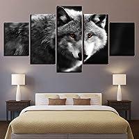 BOYH 5 Pezzi Stampa su Tela Poster di Lupo Animale dagli Occhi Rossi HD Wall Art Modern Immagini Home Decor