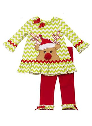 098d4e802e31c Rare Editions Baby Girls' Infant Lime Red Chevron RUDOLPH Leggings 2-pc  outfit,