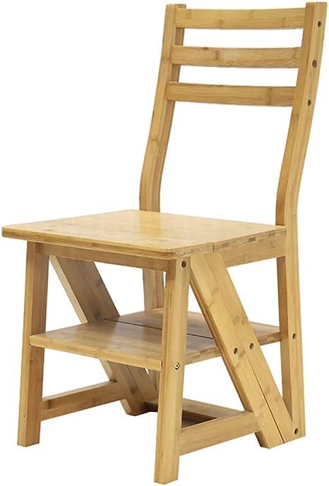 CAIJUN Silla Multifuncional Taburete De Escalera Bambú Interior Escalera Plegable Ensamblaje Pedal De 4 Pasos Silla De Comedor (Color : Color Madera): Amazon.es: Hogar