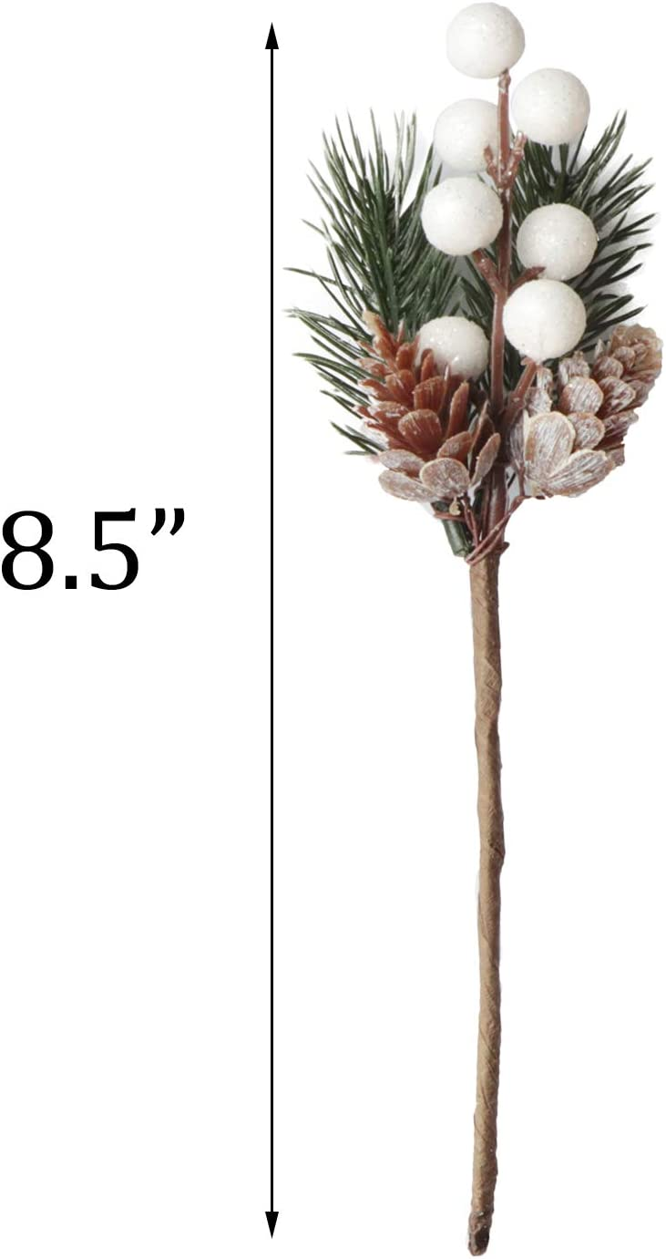 10 Tofytiy 10 PCS White Christmas Berries Stems Glitter Pine Cones Christmas Tree Picks Spray Artificial Pine Branches Holly Stem for DIY Crafts Xmas Garland Decoration Gift Wrap Embellishment