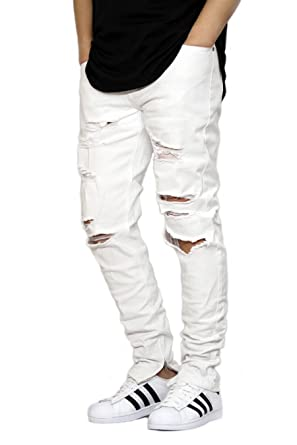 bc4e700a63de KDNK URBANJ Men's White Destroyed Ankle Zipper Skinny Jeans at ...