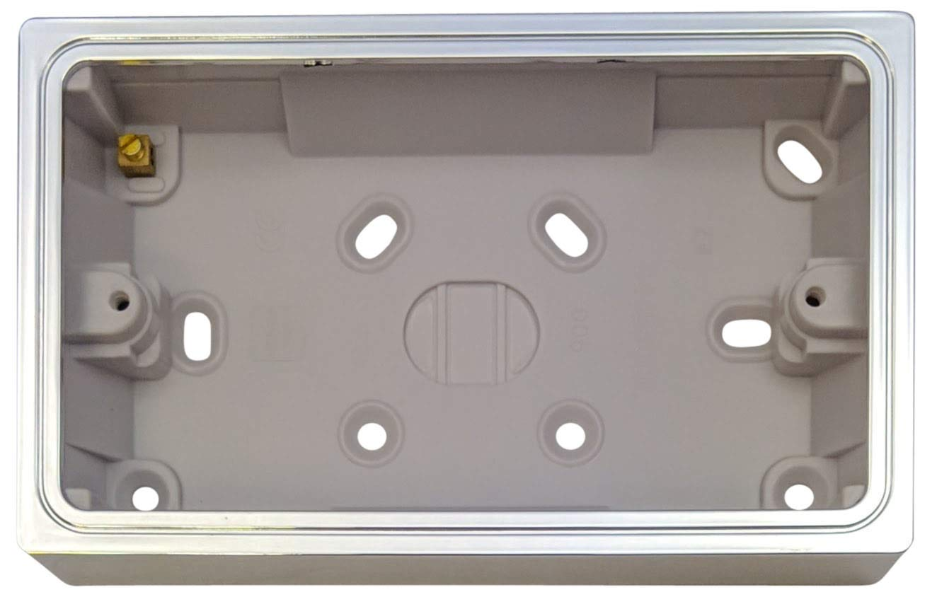 G/&H PATDC 2 Gang Polished Chrome Surface Mounted Double 35mm Pattress Box