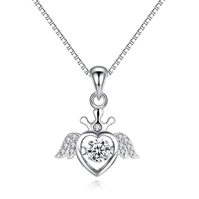 f96c8cb34 VANA JEWELRY Heart Pendant Necklace Dance Jewelry Womens Dainty Silver  Necklace Rose Gold Open Heart-Shaped Triangle Crown Clover 925 Sterling  Charms Teen ...