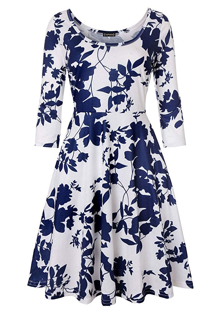 Dark bluee Flowers Whitelong YIPWIN Women's Floral Print Scoop Neck Casual Work Stretch Swing Midi A Line Dresses (Long Sleeve & 3 4 Sleeve & Sleeveless)