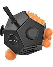 12 Sided Fidget Cube, ATiC Fidget Twiddle Cube Dodecagon Rubiks Cube Stress Relief Hand Toy Decompression for ADD, ADHD, Austim Kids and Adults, Black/Orange