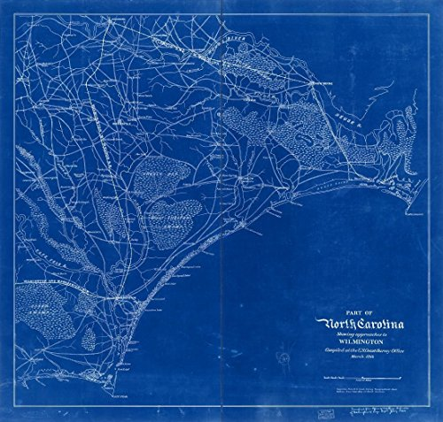 18 x 24 Blueprint Style Reproduced Old Map of: 1864Part of North Carolina showing approaches to Wilmington by United States Coast Survey - Wilmington Pictures