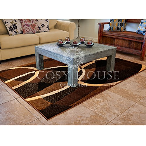 Chocolate Contemporary Rug (Cosy House Contemporary Area Rugs for Indoors | Plush High Pile Olefin Polypropylene | Resists Stains, Soil & Fading | Power Loomed in Turkey, 5'2