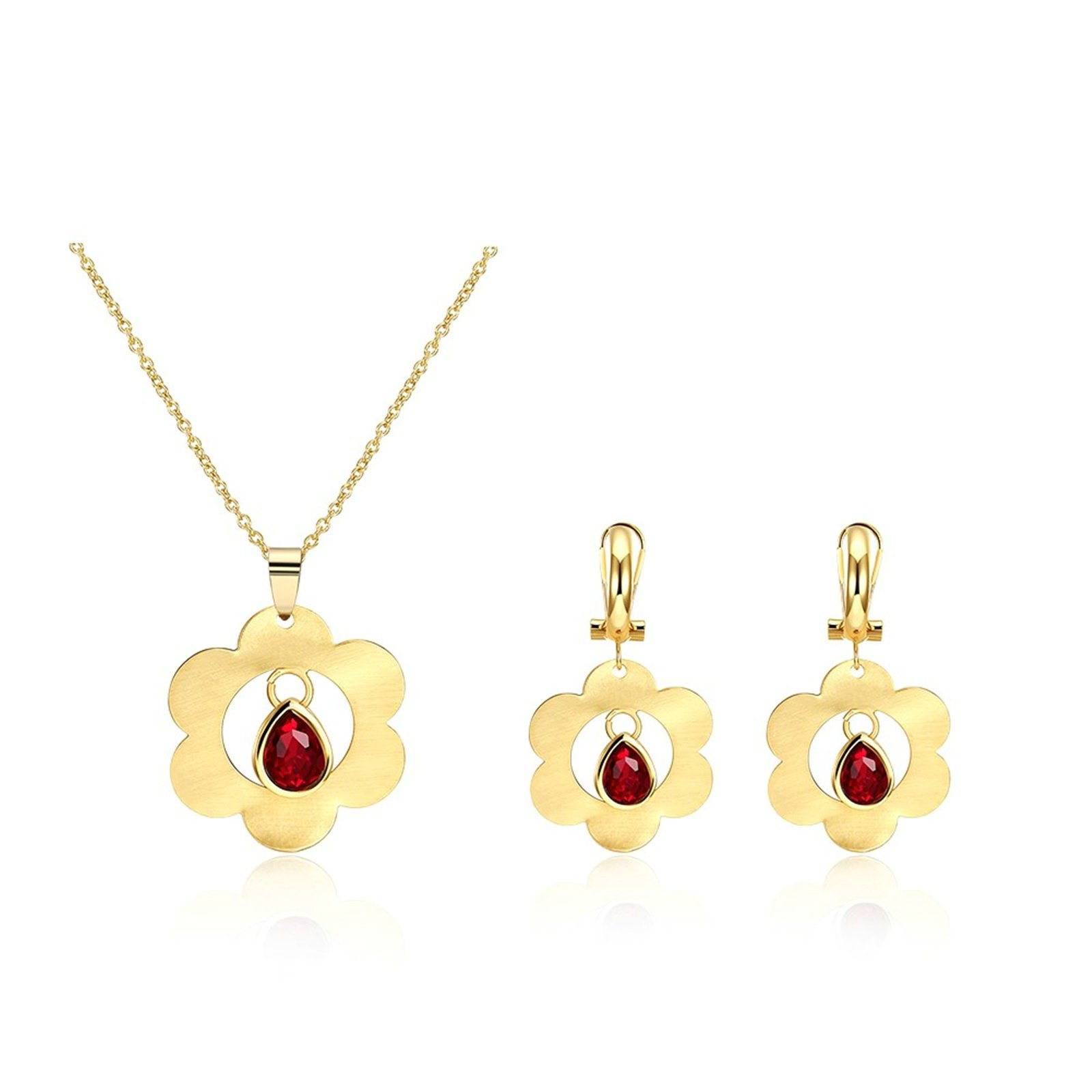 MoAndy Fashion Jewelry Set For Women Necklace Earrings The Flower Shaped Cz Gold