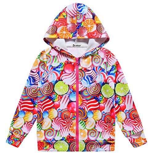 Jxstar Girls Hoodie Bomber Jacket Sweet Lollipop Print Kid Pocket Outwear Coat -