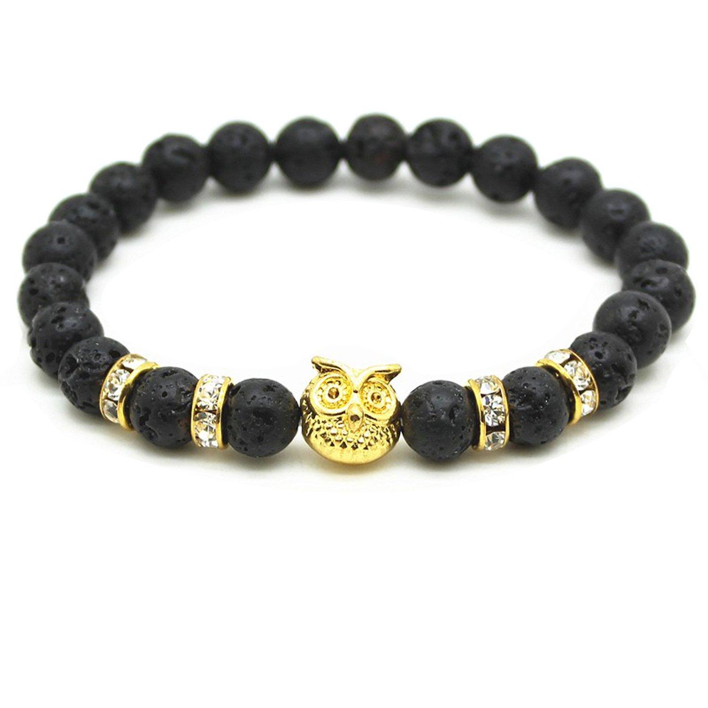 LSVTR Women Men Antique Gold Plated Roman Warrior Gladiator Helmet Lava Stone Beads Charm Bracelets LSGM04L07